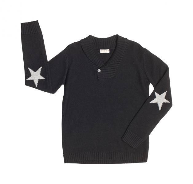 Bock Cph,strikket genser med krave,  sort