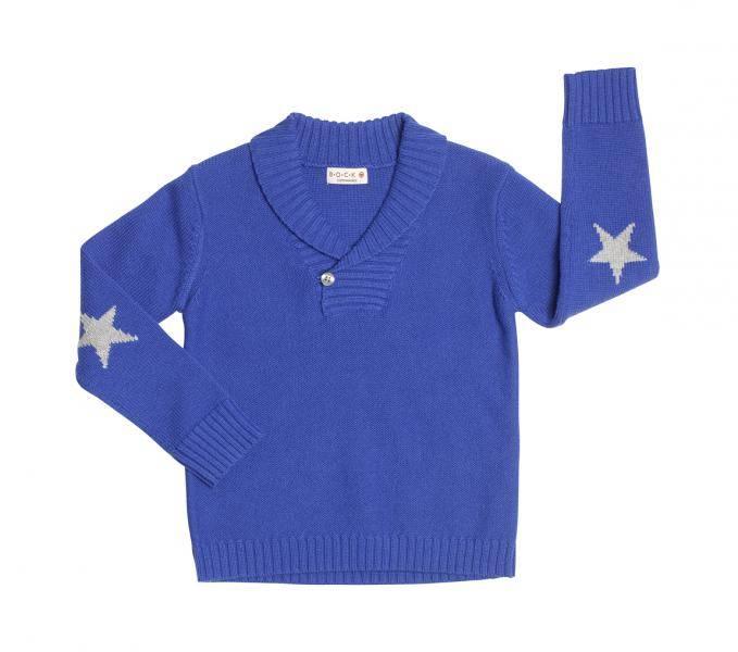 Bock Cph,strikket genser med krave,  blå