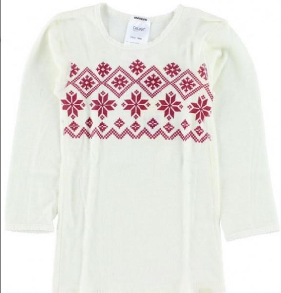 Celavi,hvit genser i ull med rødt stjernemønster