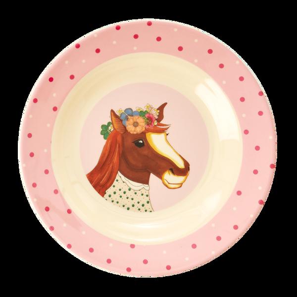 Rice, Dyp barnetallerken med farm animals print rosa