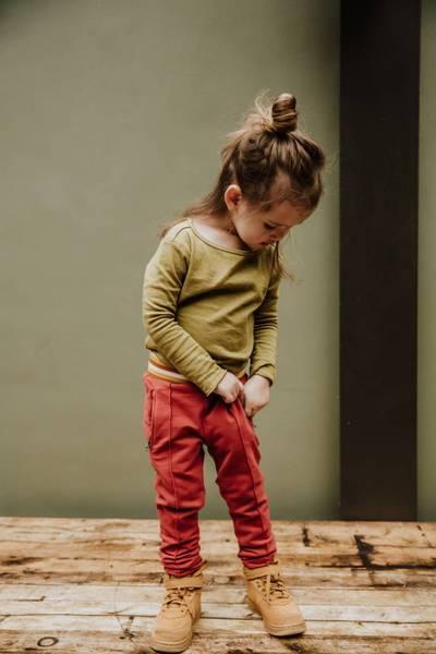 Little Hedonist, genser Elana olive drab/golden spice striper