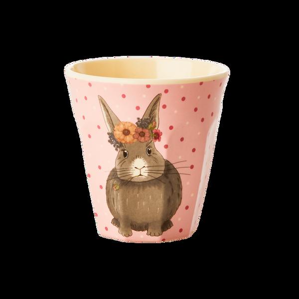 Rice, liten kopp i melamin,animals print - rosa