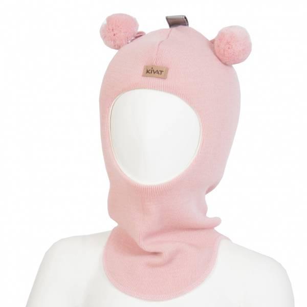 Kivat, lys rosa hettelue i ull med kivatlogo og dusker