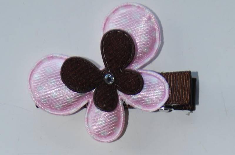 Hårspenne, rosa sommerfugl  med swaroski 135 ,  Den lille prikke