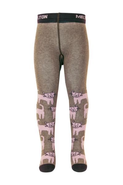 Melton strømpebukse happy cats dusty purple