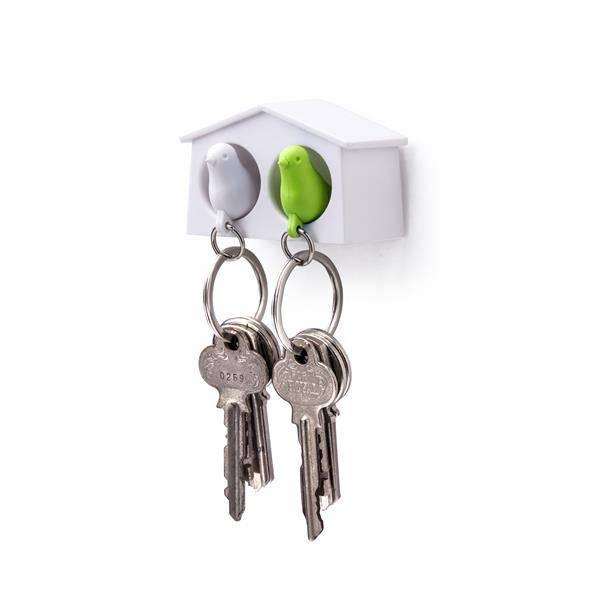 Qualy, mini duo fuglenøkkelringer hvit/grønn