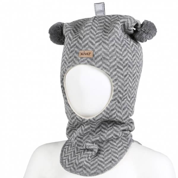 Kivat, gråmønstret hettelue i ull med refleks kivatlogo og duske