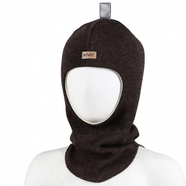 Kivat,  brun hettelue i ull med refleks og kivatlogo