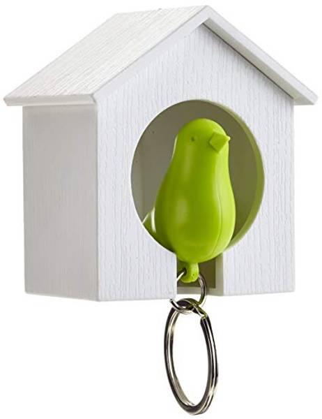 Qualy fuglenøkkelring hvit/grønn