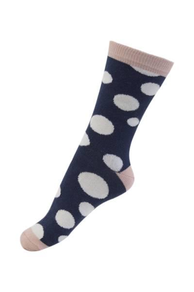 Melton sokker, dotty dots navy