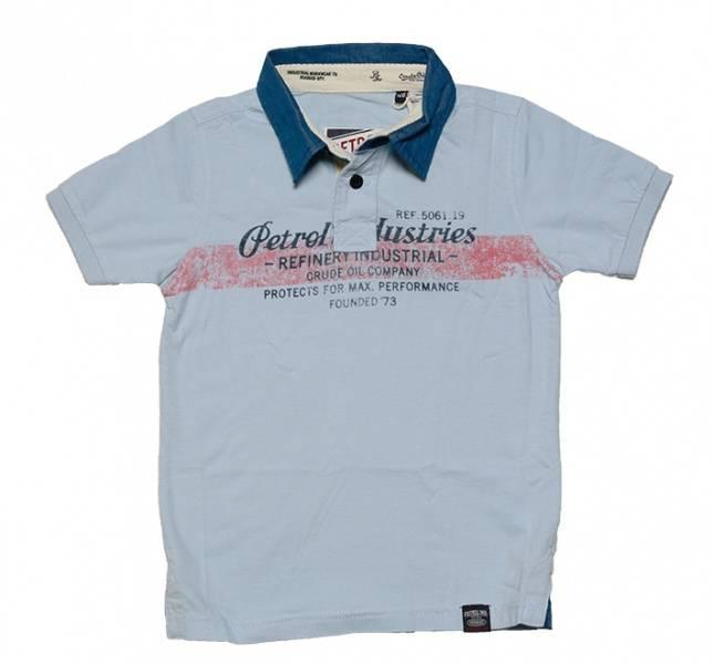 Petrol , lys blå t-skjorte med krave