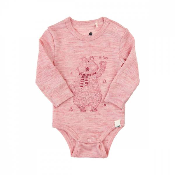 Celavi body merinoull bjørn silver rosa