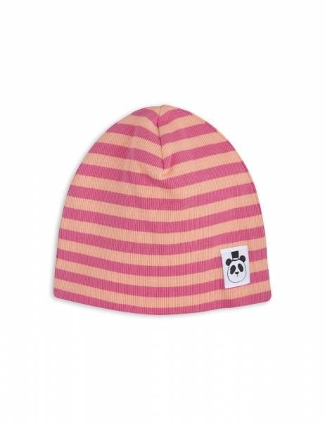 Mini rodini, stripe rib beanie pink