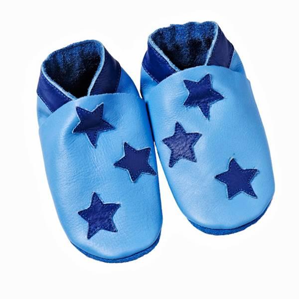 Celavi, lyseblå skinntøfler med stjerner