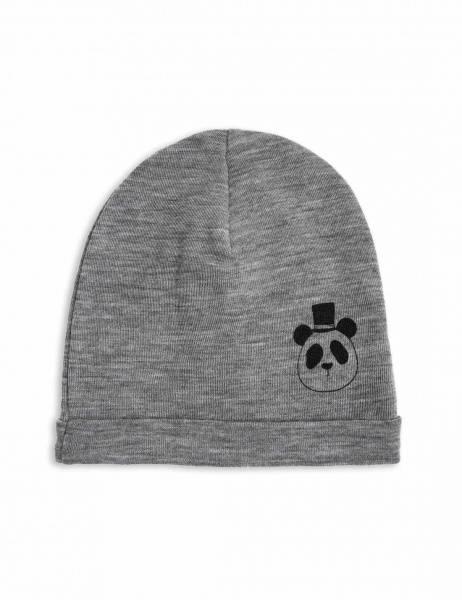 Mini rodini, panda wool beanie grey