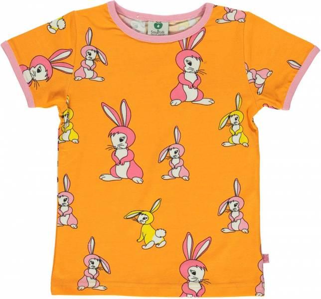Småfolk oransje tskjorte med kaniner