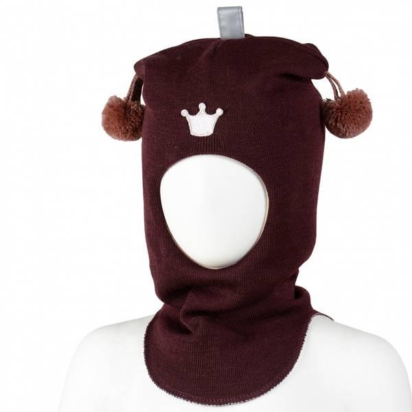 Kivat, burgunder hettelue i ull med dusker og  prinsessekrone