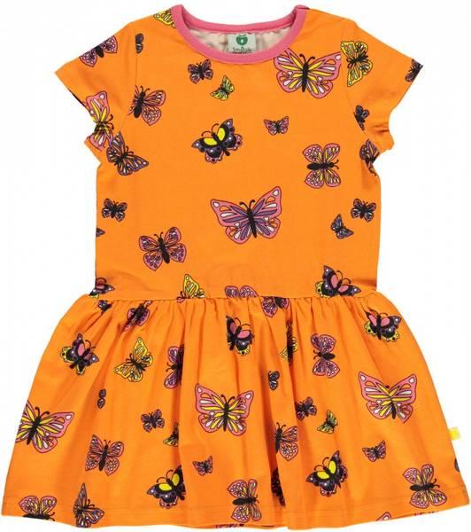 Småfolk oransje kjole med sommerfugler