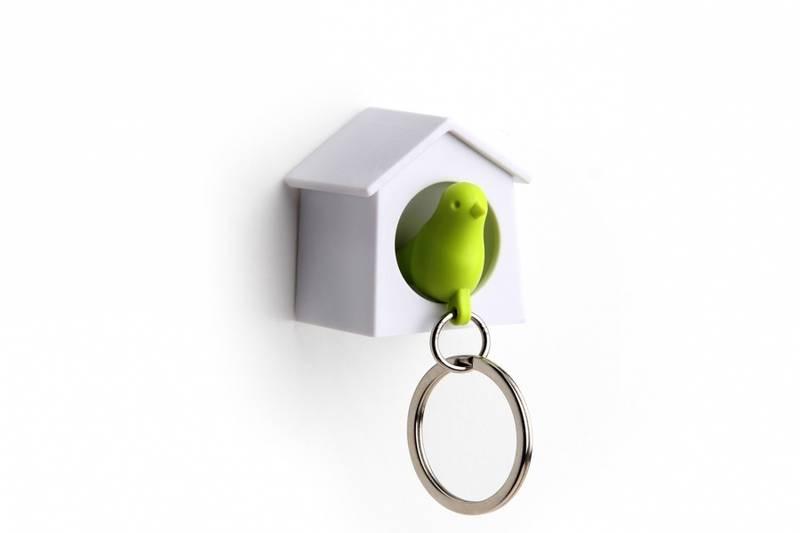Qualy, minifuglenøkkelring hvit/grønn