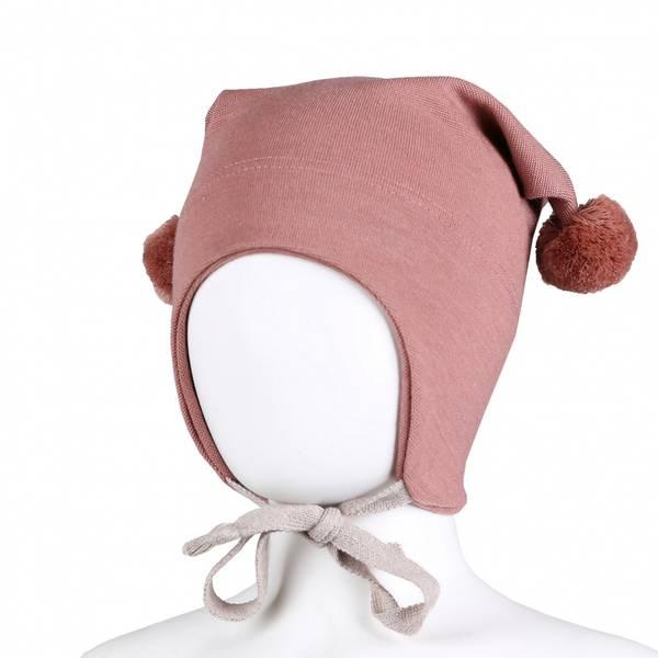 Kivat, dus rosa knytelue i ull/silke med dusker