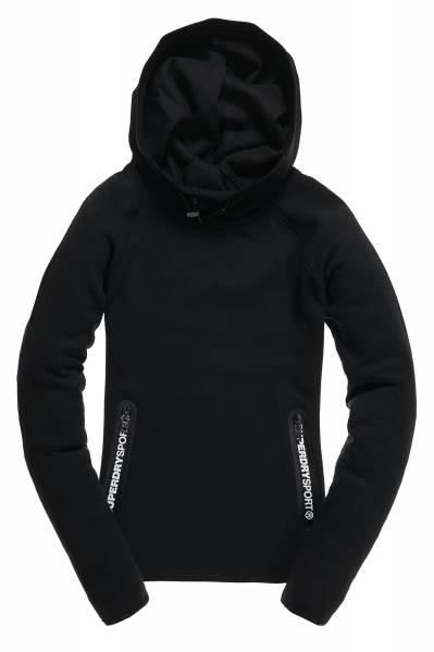Superdry, black gym tech cowl hood