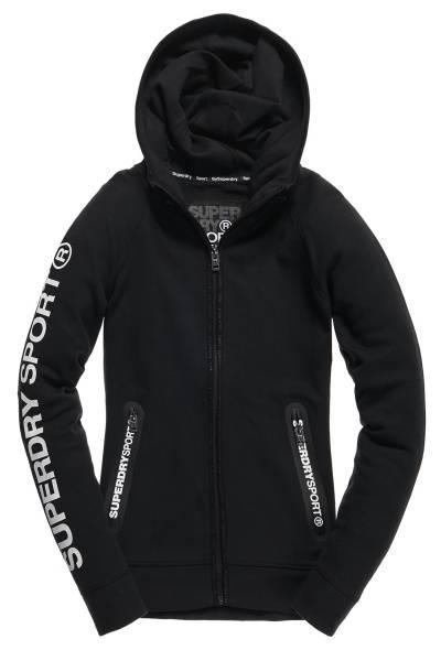 Superdry, black gym tech ziphood