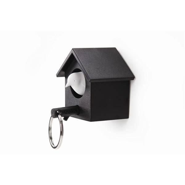 Qualy, cuckoo nøkkelring svart hus/hvit fugl