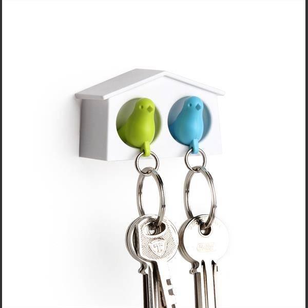 Qualy, mini duo fuglenøkkelringer hvit/grønn/blå
