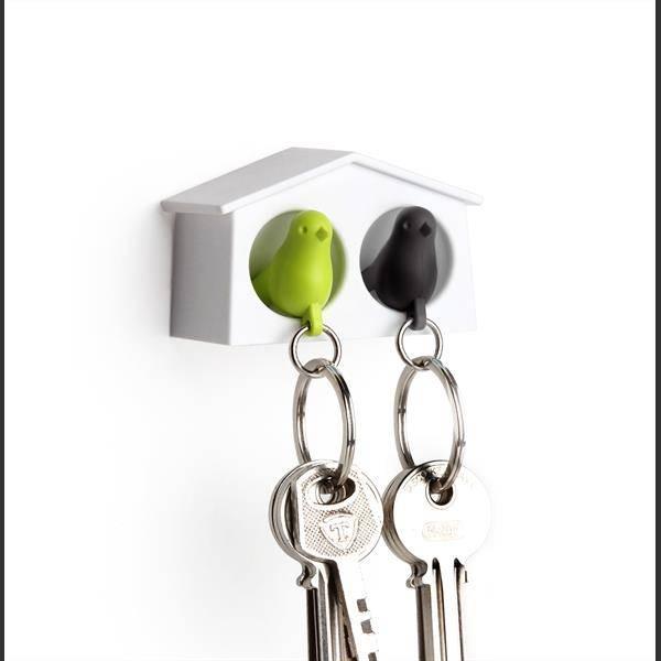 Qualy, mini duo fuglenøkkelringer hvit/grønn/svart