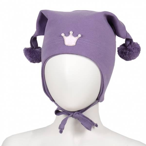 Kivat, lilla bomullslue med prinsessekrone og dusker