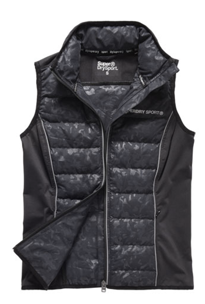 Superdry, Gym Quilted Gilet black camo
