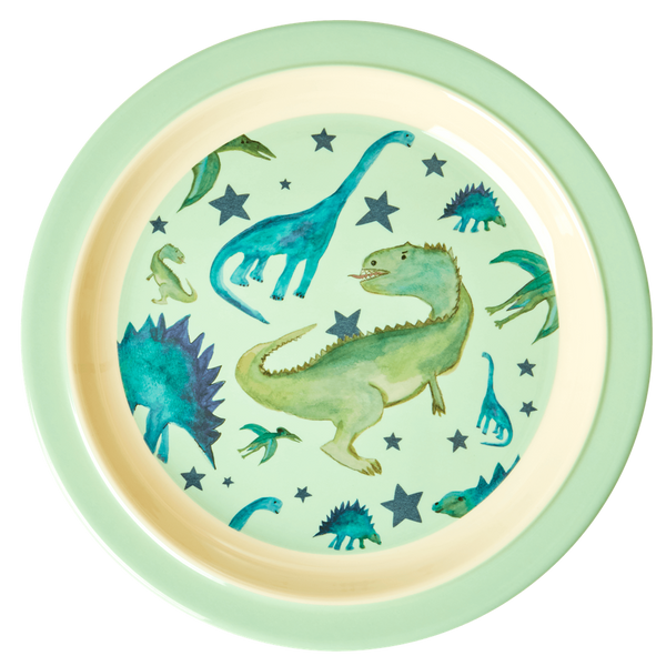 Rice,barnetallerken med dinosaurer