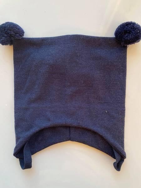 Kivat, navy knytelue i ull/silke med dusker
