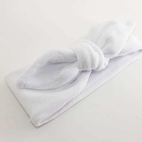 Unik Design, Knytebånd spiss matt velour hvit