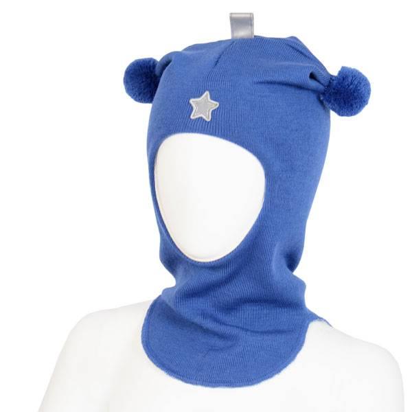 Kivat, klarblå hettelue i ull med refleksstjerne