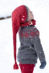 Bilde av Nissete langlue barn i Alpakka Tweed garnpakke