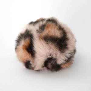 Bilde av Dusk i fuskepels trykknapp 6 cm - lys rosa/brun/svart