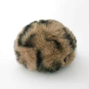 Bilde av Dusk i fuskepels trykknapp 6 cm - lys brun/svart
