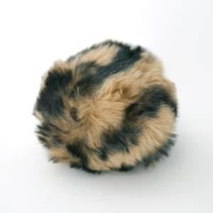 Bilde av Dusk i fuskepels trykknapp 6 cm - lysbrun/svart