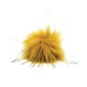 Bilde av Dusk i fuskepels trykknapp 8 cm - okergul/svart
