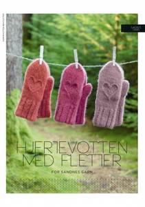 Bilde av Kbs7 Hjertevotten tovet med fletter oppskrift Sandnes garn*