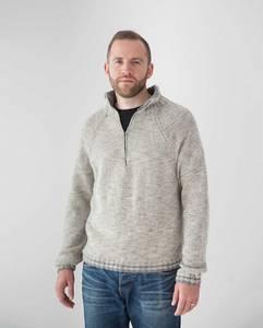 Bilde av DB109 Zipped Collar Sweater - Rialto dk Heathers Genser