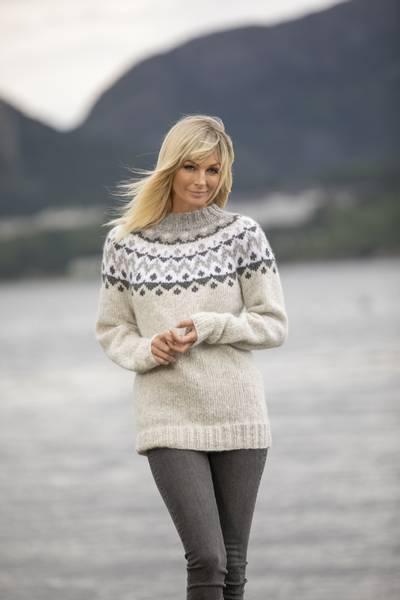 Suna genser strikkepakke Alpaca Bris Viking