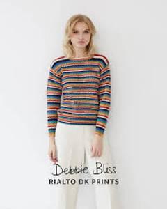 Bilde av DB068 Striped Rib Sweater - Rialto 4 dk Prints Debbie Bliss