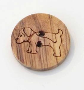 Bilde av Treknapp oliven, 16 mm,  rund med hund
