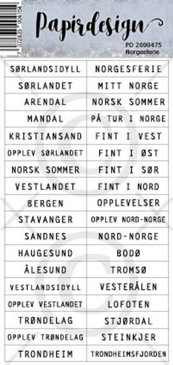 PD; Klistremerker, Norgesferie