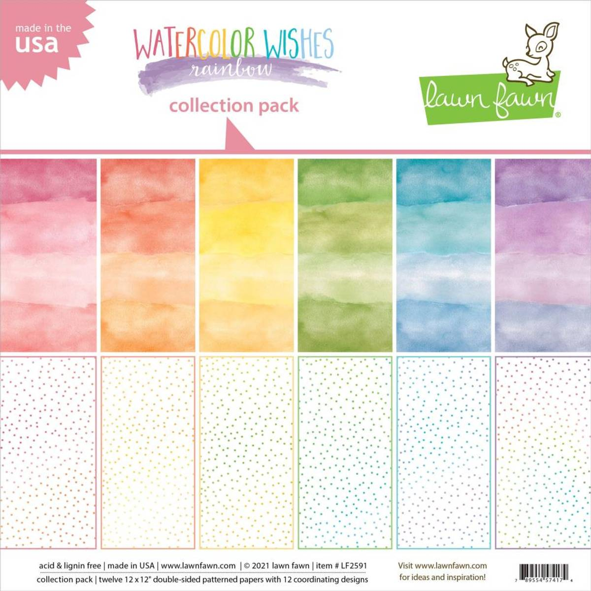 Lawn Fawn Watercolor Wishes Rainbow, 6 Designs