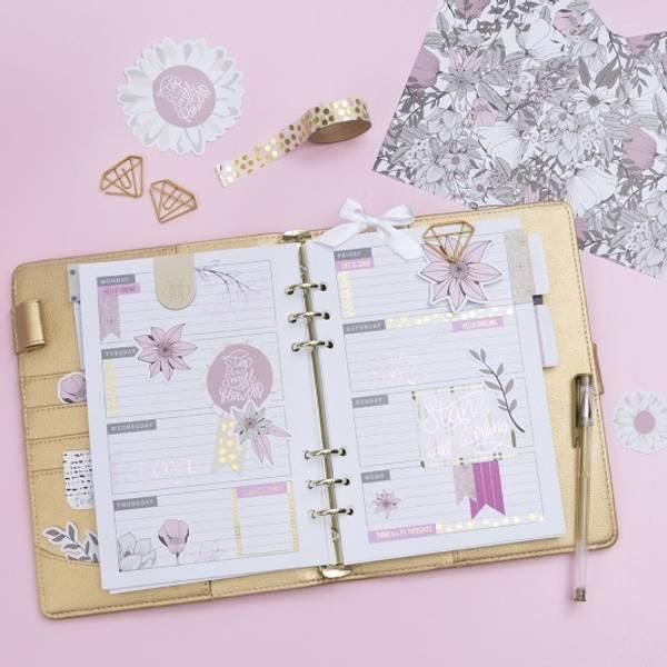 Limfolie og design limark, blomster rosa
