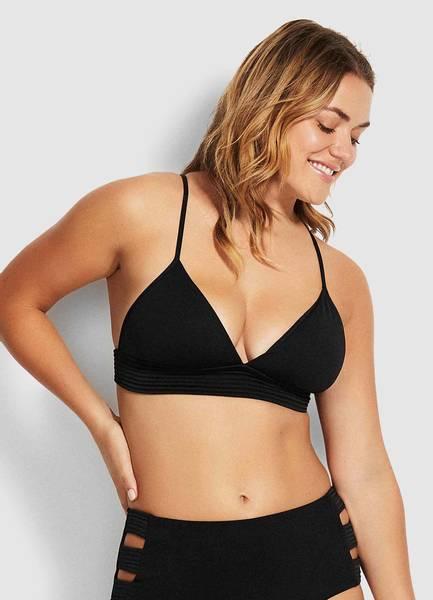 Bilde av  Quilted Fixed Tri Bikini Top Black