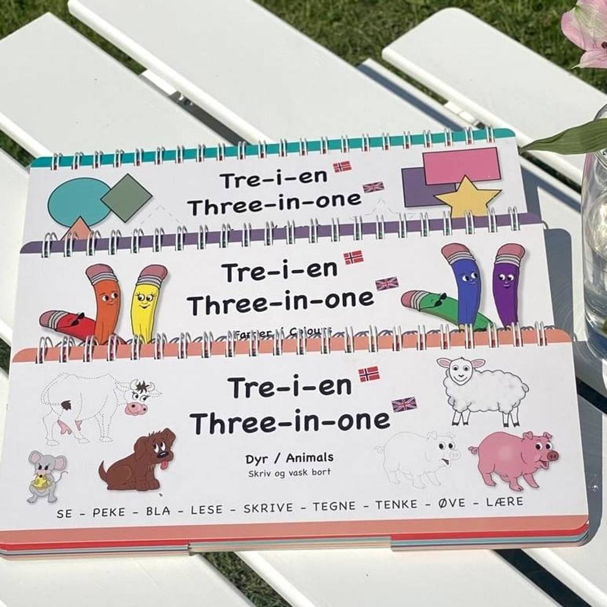 FARGER, FORMER, DYR - 3 lærerike bøker med klaffer